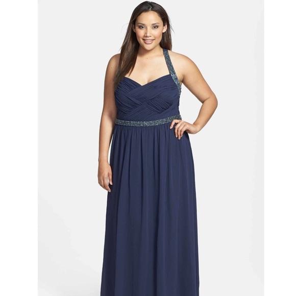 🆕 Calvin Klein Long Beaded Gown Plus Size 20W NWT